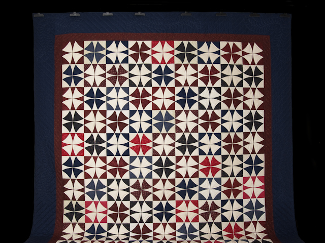Vintage Navy Blue Burgundy Creams Winding Ways Quilt Queen Size Photo 2