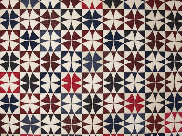 Vintage Navy Blue Burgundy Creams Winding Ways Quilt Queen Size Photo 3