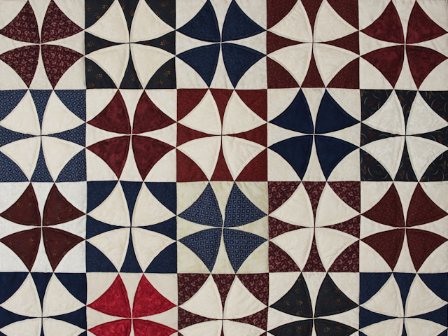 Vintage Navy Blue Burgundy Creams Winding Ways Quilt Queen Size Photo 4