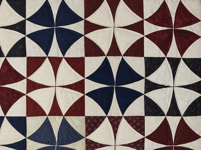 Vintage Navy Blue Burgundy Creams Winding Ways Quilt Queen Size Photo 5