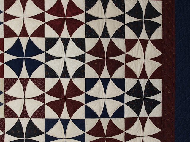 Vintage Navy Blue Burgundy Creams Winding Ways Quilt Queen Size Photo 6