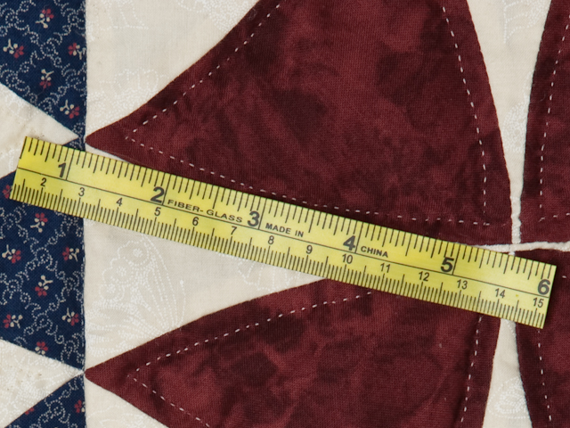 Vintage Navy Blue Burgundy Creams Winding Ways Quilt Queen Size Photo 8