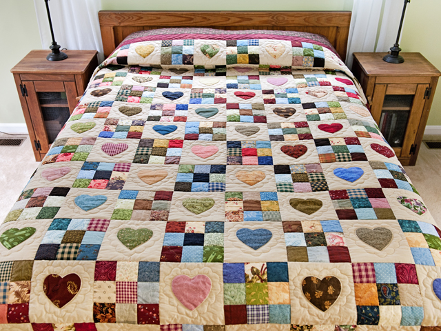 Queen Multi-Color Hearts and Nine Patch Quilt Photo 1