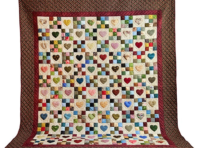 Queen Multi-Color Hearts and Nine Patch Quilt Photo 2