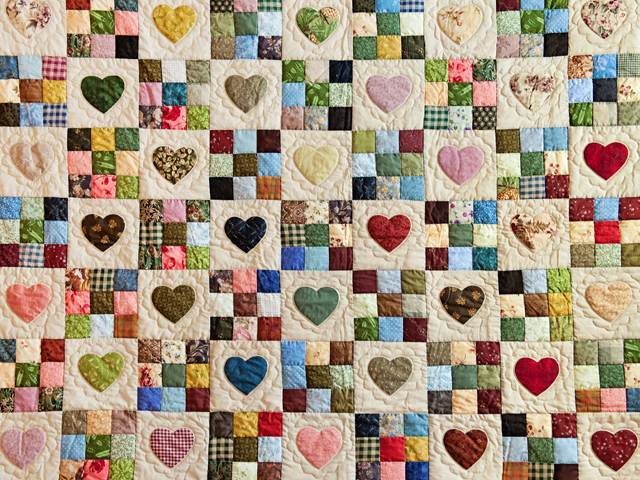 Queen Multi-Color Hearts and Nine Patch Quilt Photo 3
