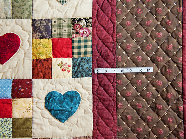 Queen Multi-Color Hearts and Nine Patch Quilt Photo 5