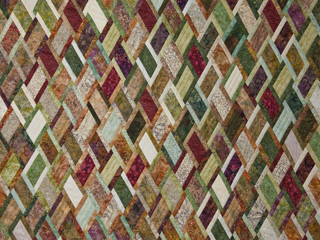 King Size Batik Plum Green Gold and Cream 