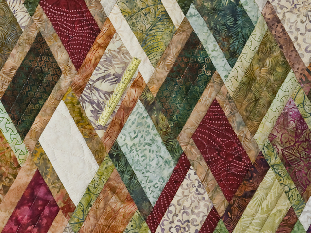 King Size Batik Plum Green Gold and Cream  Diamond Jubilee Quilt Photo 6