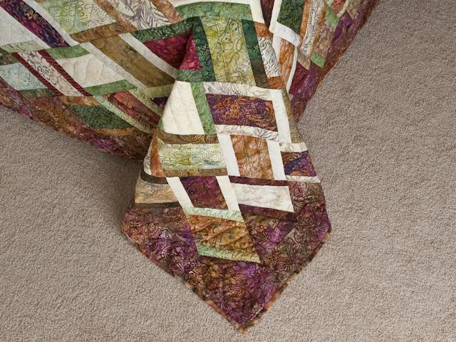 King Size Batik Plum Green Gold and Cream  Diamond Jubilee Quilt Photo 7