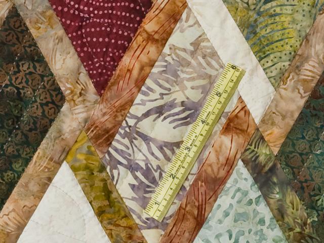 King Size Batik Plum Green Gold and Cream  Diamond Jubilee Quilt Photo 8