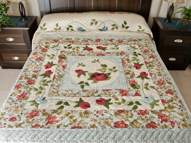 """""""I Promised You a Rose Garden"""" Queen size in soft ocean blues and reds Photo 1"""