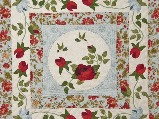 """""""I Promised You a Rose Garden"""" Queen size in soft ocean blues and reds Photo 4"""