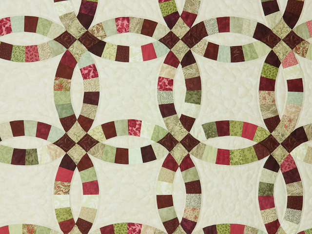 King Size Burgundy, red and sage  Double Wedding Ring Quilt Photo 4