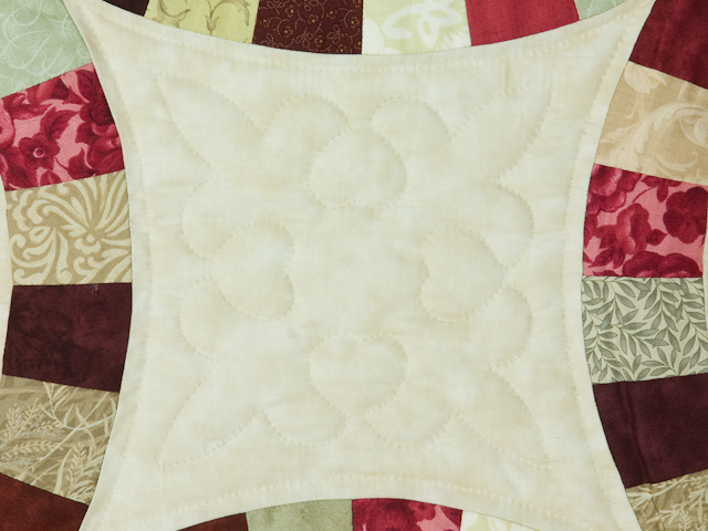 King Size Burgundy, red and sage  Double Wedding Ring Quilt Photo 6