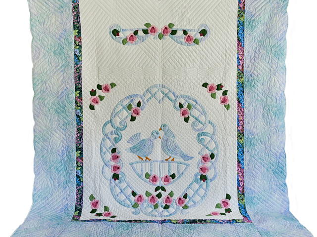 Doves and Roses Wedding Quilt Photo 2
