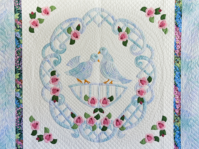 Doves and Roses Wedding Quilt Photo 3