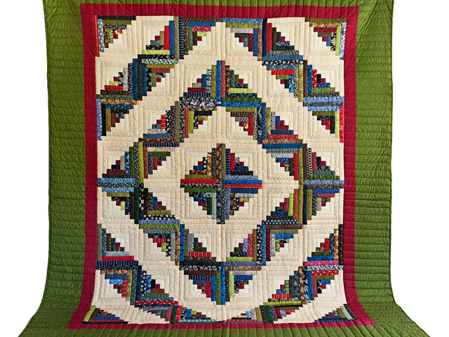 Multicolor Traditional Log Cabin Quilt Photo 2
