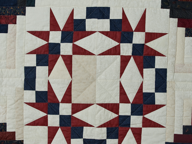 King Navy Burgundy and Cream Captains Quilt Photo 5