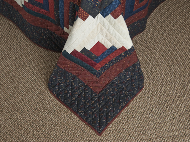 King Navy Burgundy and Cream Captains Quilt Photo 7