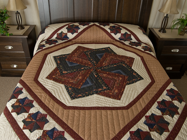 Queen Navy Burgundy and Tan Star Spin Quilt Photo 1