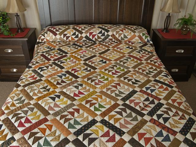 Dutchmans Puzzle Queen Size Bed Quilt Photo 1