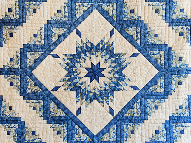 Blue Green Yellow Lone Star Log Cabin Quilt Photo 3