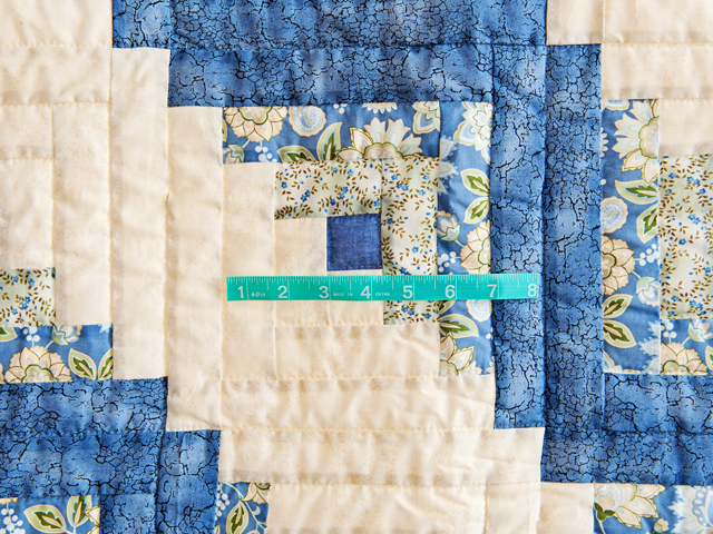 Blue Green Yellow Lone Star Log Cabin Quilt Photo 4