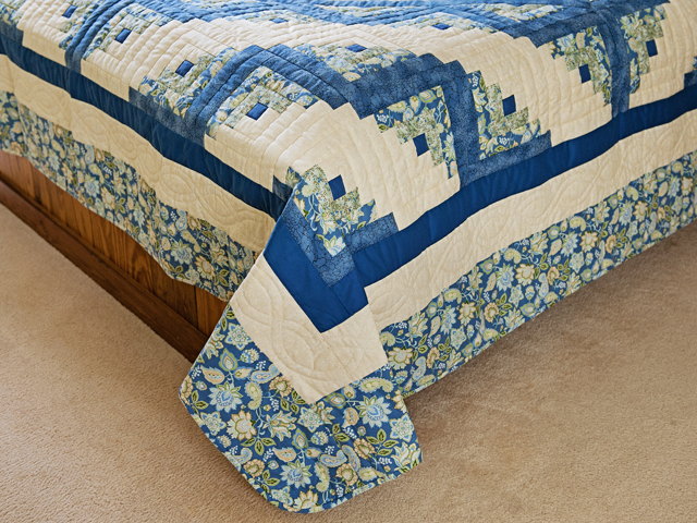 Blue Green Yellow Lone Star Log Cabin Quilt Photo 7
