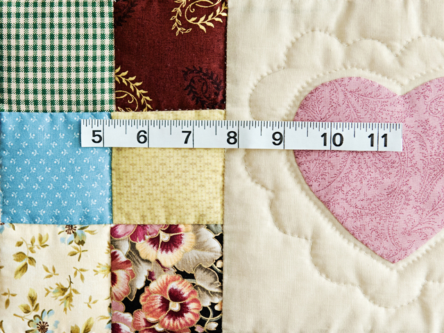 King Navy and Multicolor Hearts and Nine Patch Quilt Photo 6