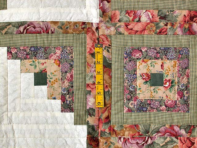Sage and Pressed Flowers Log Cabin Star Quilt Photo 4