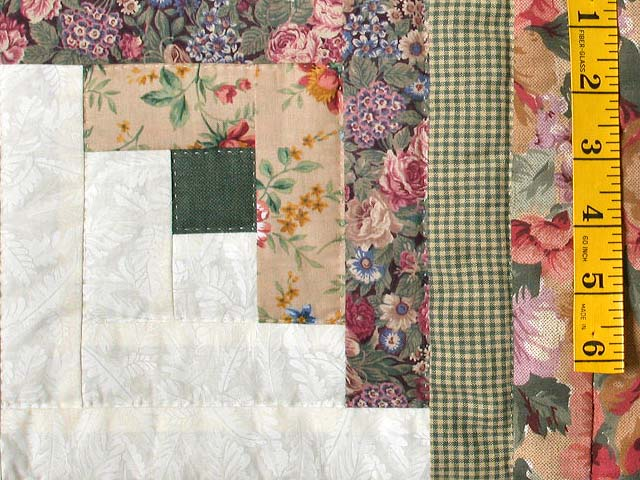 Sage and Pressed Flowers Log Cabin Star Quilt Photo 5