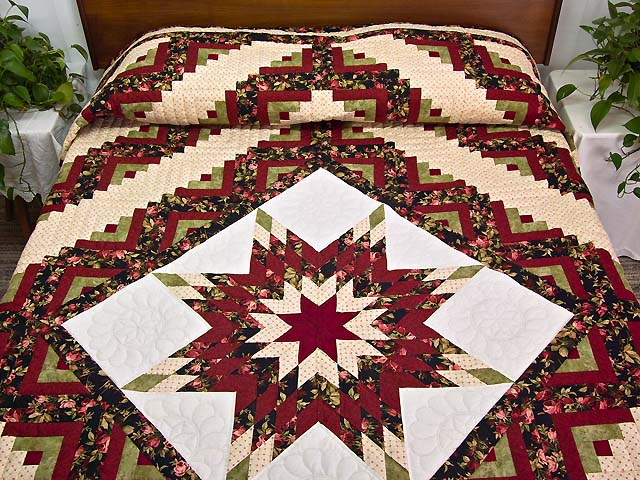 Burgundy Black and Green Lone Star Log Cabin Quilt Photo 1