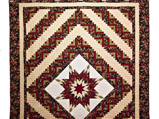Burgundy Black and Green Lone Star Log Cabin Quilt Photo 2