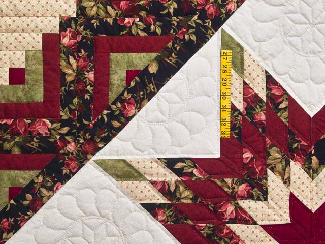 Burgundy Black and Green Lone Star Log Cabin Quilt Photo 4