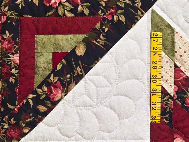 Burgundy Black and Green Lone Star Log Cabin Quilt Photo 5