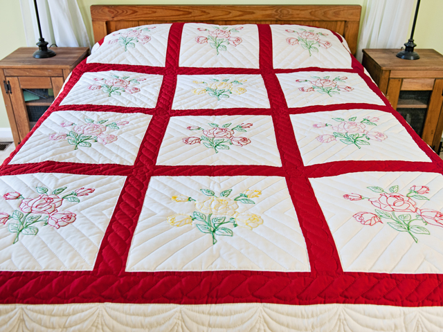 Red and White Embroidered Roses Quilt Photo 1