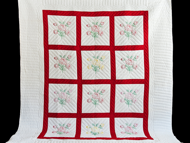 Red and White Embroidered Roses Quilt Photo 2