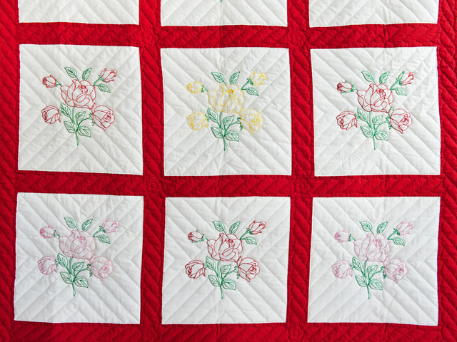Red and White Embroidered Roses Quilt Photo 3