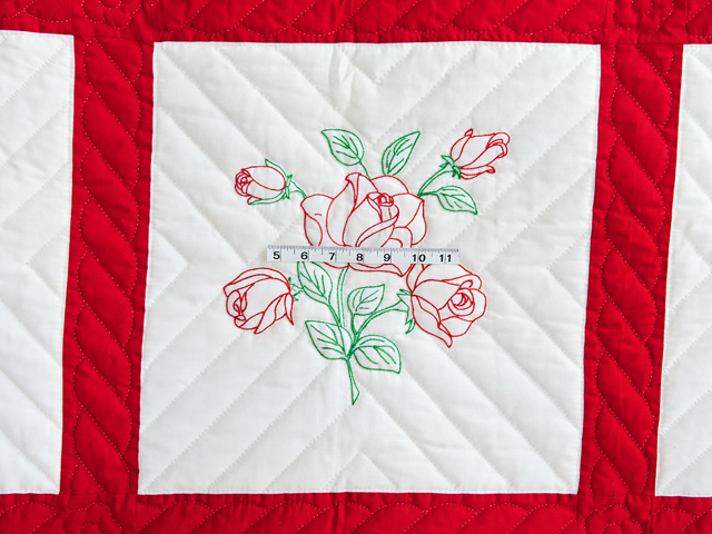 Red and White Embroidered Roses Quilt Photo 4