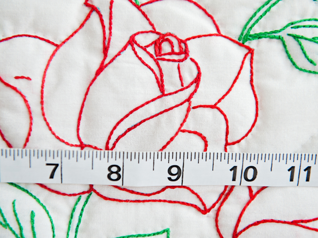 Red and White Embroidered Roses Quilt Photo 6