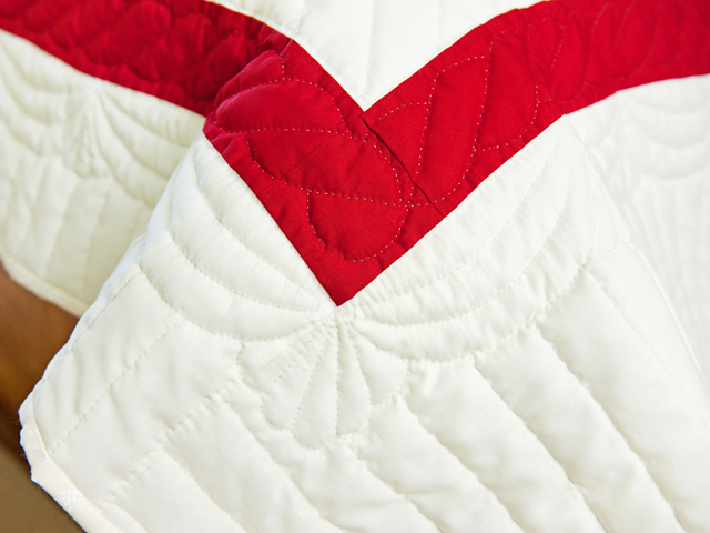 Red and White Embroidered Roses Quilt Photo 7