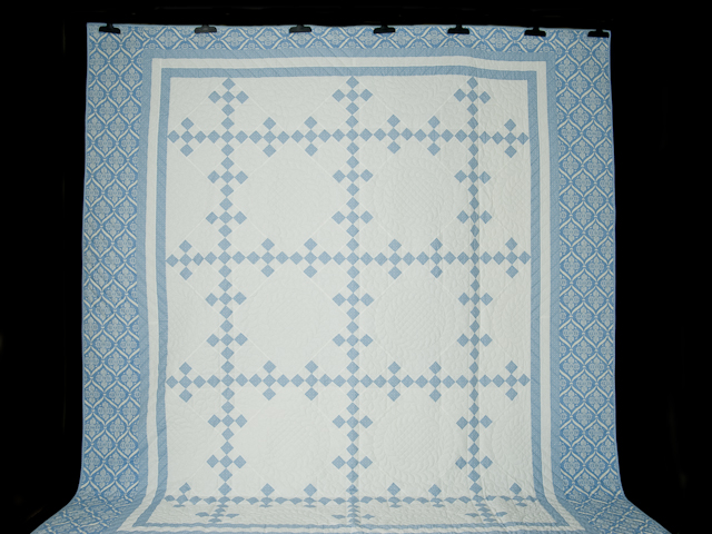 Blue and White Nine Patch Quilt Queen Size Photo 2