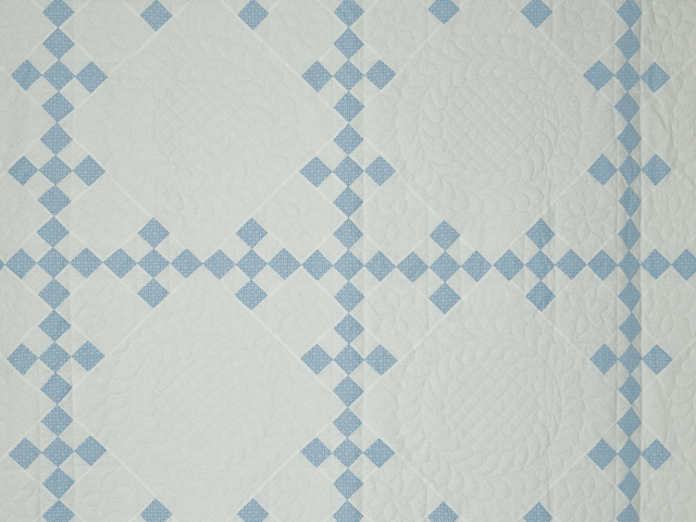 Blue and White Nine Patch Quilt Queen Size Photo 4