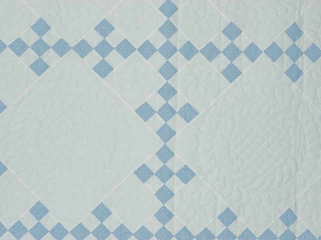 Blue and White Nine Patch Quilt Queen Size Photo 5