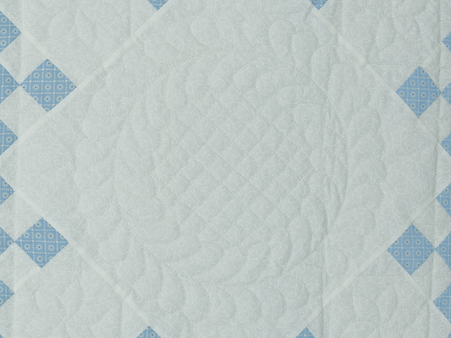 Blue and White Nine Patch Quilt Queen Size Photo 6