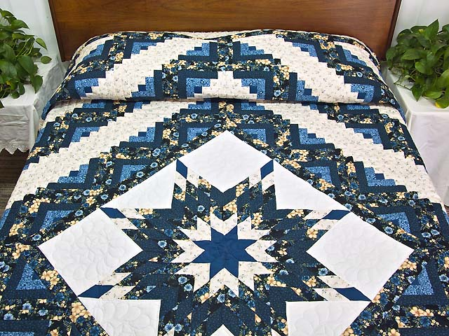 Navy Blue and Cream Lone Star Log Cabin Quilt Photo 1