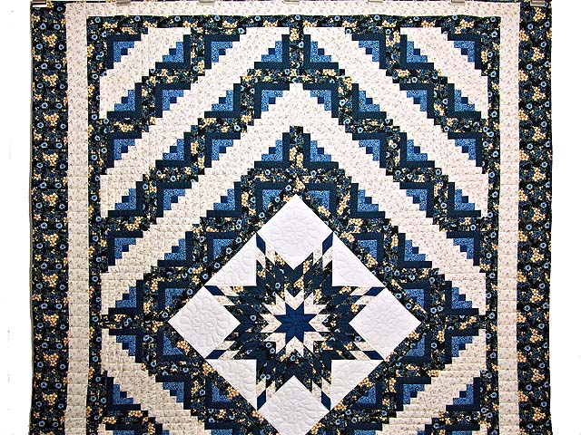 Navy Blue and Cream Lone Star Log Cabin Quilt Photo 2