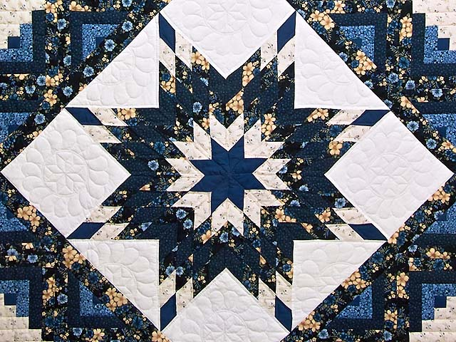 Navy Blue and Cream Lone Star Log Cabin Quilt Photo 3