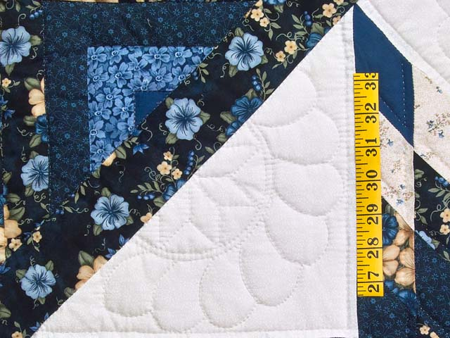 Navy Blue and Cream Lone Star Log Cabin Quilt Photo 5