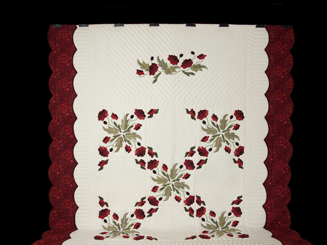 Red and Green Poppy Fields Quilt Photo 2
